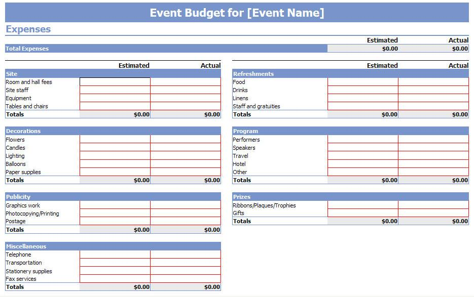 event budget template search results calendar 2015. Black Bedroom Furniture Sets. Home Design Ideas